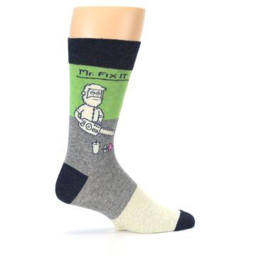 Image of Grey Green Mr. Fix It Men's Dress Socks (side-1-24)