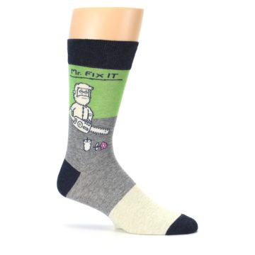 Image of Grey Green Mr. Fix It Men's Dress Socks (side-1-25)