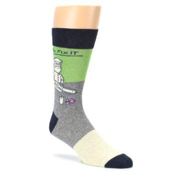 Image of Grey Green Mr. Fix It Men's Dress Socks (side-1-27)