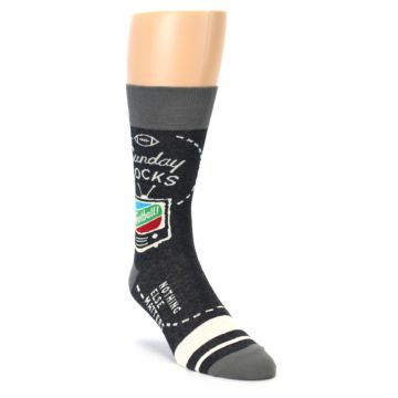 Image of Charcoal Sunday Night Football Men's Dress Socks (side-1-front-02)