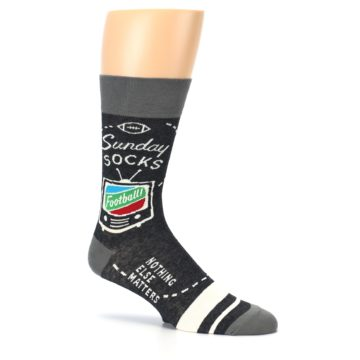 Image of Charcoal Sunday Night Football Men's Dress Socks (side-1-26)