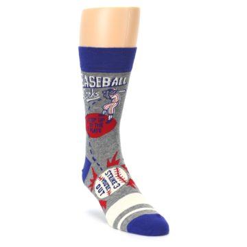 Image of Grey Blue Baseball Men's Dress Socks (side-1-front-02)
