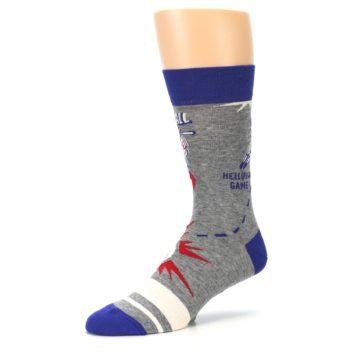 Image of Grey Blue Baseball Men's Dress Socks (side-2-09)