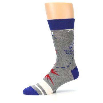 Image of Grey Blue Baseball Men's Dress Socks (side-2-10)