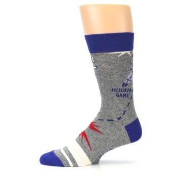 Image of Grey Blue Baseball Men's Dress Socks (side-2-11)
