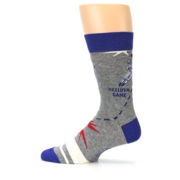 Image of Grey Blue Baseball Men's Dress Socks (side-2-12)