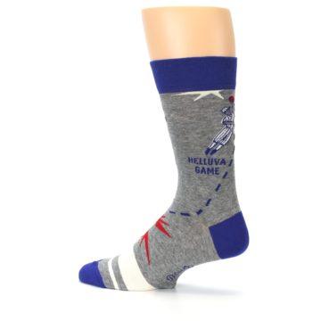 Image of Grey Blue Baseball Men's Dress Socks (side-2-13)