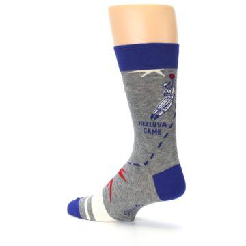 Image of Grey Blue Baseball Men's Dress Socks (side-2-back-14)