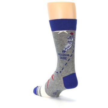 Image of Grey Blue Baseball Men's Dress Socks (side-2-back-15)