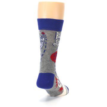 Image of Grey Blue Baseball Men's Dress Socks (side-1-back-20)