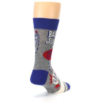 Image of Grey Blue Baseball Men's Dress Socks (side-1-back-21)
