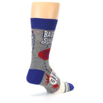 Image of Grey Blue Baseball Men's Dress Socks (side-1-back-22)