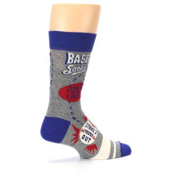 Image of Grey Blue Baseball Men's Dress Socks (side-1-23)