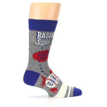 Image of Grey Blue Baseball Men's Dress Socks (side-1-24)