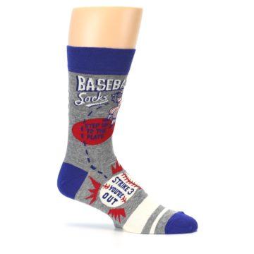 Image of Grey Blue Baseball Men's Dress Socks (side-1-25)