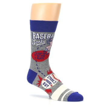 Image of Grey Blue Baseball Men's Dress Socks (side-1-26)