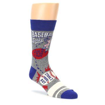 Image of Grey Blue Baseball Men's Dress Socks (side-1-27)