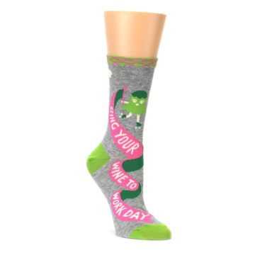 Bring your wine to work women's grey and lime crew socks by Blue Q