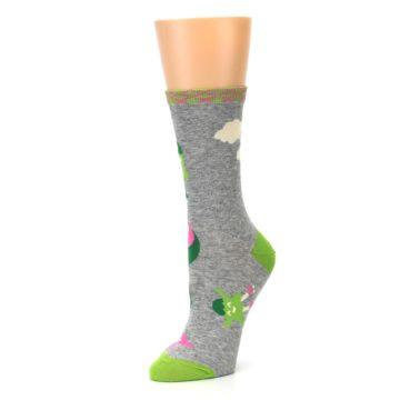 Image of Grey Bring Wine to Work Women's Dress Socks (side-2-09)