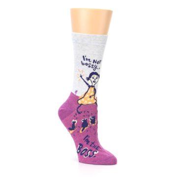 Image of Pink I'm Not Bossy Women's Dress Socks (side-1-27)