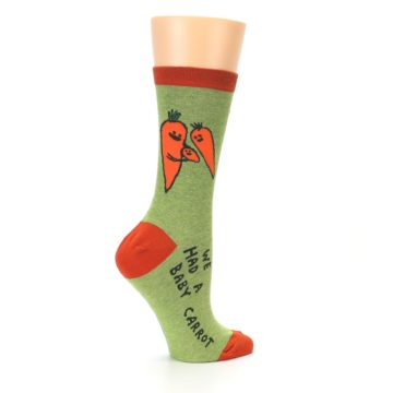 Image of Green Orange Baby Carrot Women's Dress Socks (side-1-24)