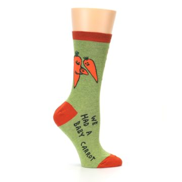 Image of Green Orange Baby Carrot Women's Dress Socks (side-1-25)