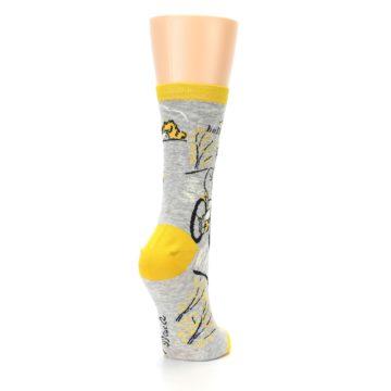 Image of Grey Yellow Hellraiser Women's Dress Socks (side-1-back-21)
