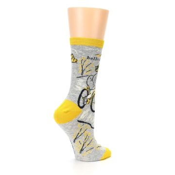 Image of Grey Yellow Hellraiser Women's Dress Socks (side-1-23)