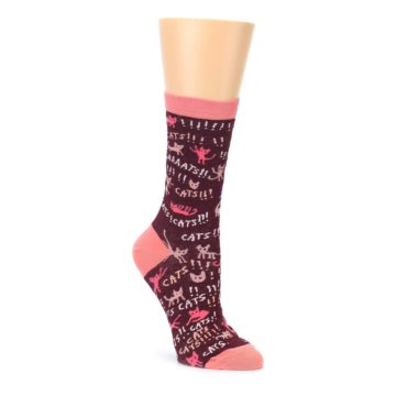 Image of Maroon Cats Women's Dress Socks (side-1-front-01)