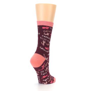 Image of Maroon Cats Women's Dress Socks (side-1-back-22)