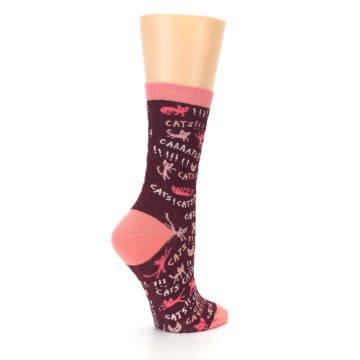 Image of Maroon Cats Women's Dress Socks (side-1-23)