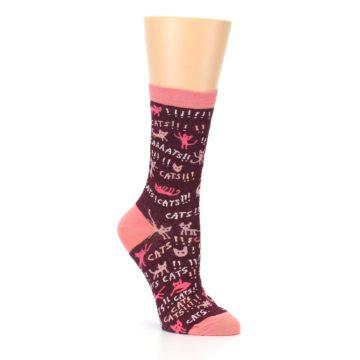 Image of Maroon Cats Women's Dress Socks (side-1-27)