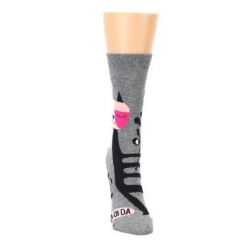 Image of Grey Black La-di-da Cat Women's Dress Socks (front-04)