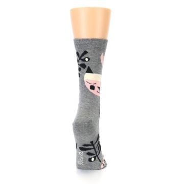 Image of Grey Black La-di-da Cat Women's Dress Socks (side-1-back-20)