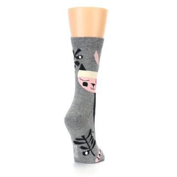 Image of Grey Black La-di-da Cat Women's Dress Socks (side-1-back-21)