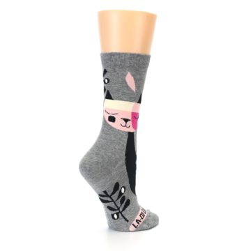 Image of Grey Black La-di-da Cat Women's Dress Socks (side-1-23)