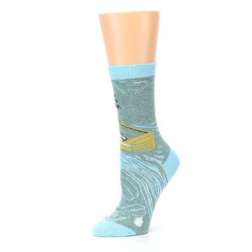 Image of Blue Grey Here Comes Trouble Women's Dress Socks (side-2-10)