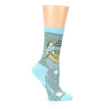 Image of Blue Grey Here Comes Trouble Women's Dress Socks (side-1-25)