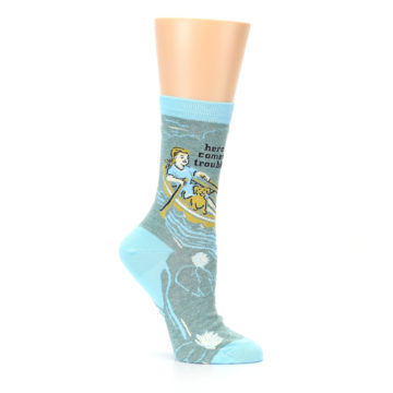 Image of Blue Grey Here Comes Trouble Women's Dress Socks (side-1-26)
