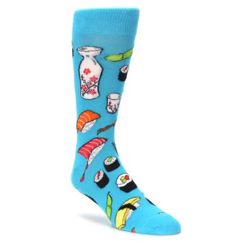 bright blue mens foodie sushimi novelty dress socks by socksmith