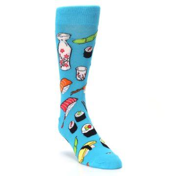 Image of Bright Blue Sushi Food Men's Dress Socks (side-1-front-02)