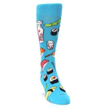 Image of Bright Blue Sushi Food Men's Dress Socks (side-1-front-03)