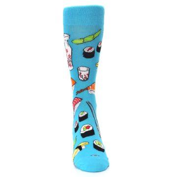 Image of Bright Blue Sushi Food Men's Dress Socks (front-04)