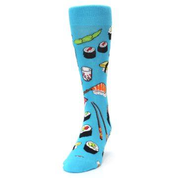 Image of Bright Blue Sushi Food Men's Dress Socks (side-2-front-06)