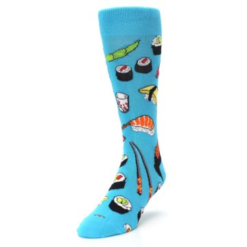 Image of Bright Blue Sushi Food Men's Dress Socks (side-2-front-07)