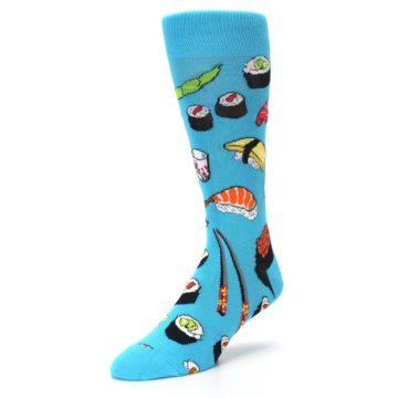 Image of Bright Blue Sushi Food Men's Dress Socks (side-2-front-08)