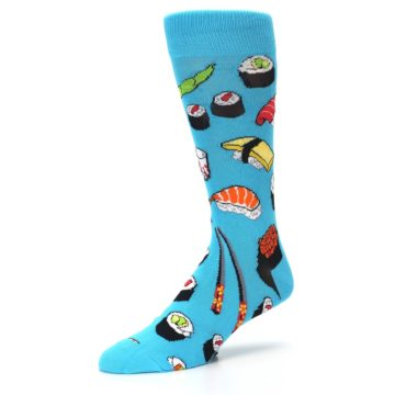 Image of Bright Blue Sushi Food Men's Dress Socks (side-2-09)