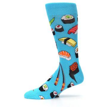 Image of Bright Blue Sushi Food Men's Dress Socks (side-2-11)