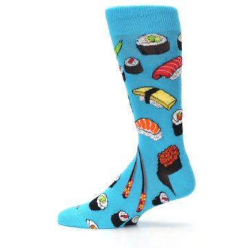 Image of Bright Blue Sushi Food Men's Dress Socks (side-2-12)