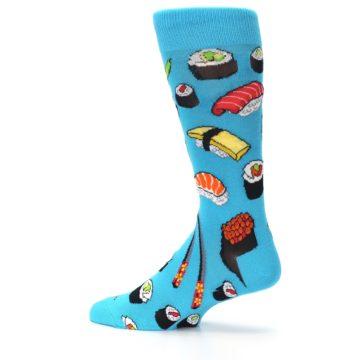 Image of Bright Blue Sushi Food Men's Dress Socks (side-2-13)